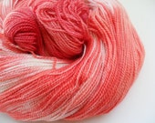 Hand Dyed Silky Lace Yarn - Coral Reef - Silk Merino Lace Weight Yarn - Natural White, Deep Orange, Salmon Pink and Oxblood Red