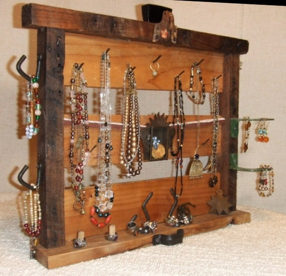 Rustic repurposed jewelry or office display organizer by for Repurposed jewelry holder