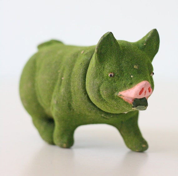 Vintage Green Pig Candy Container - Made in Germany, early 1900s