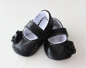 maryjane baby girl shoes Faux Crocodile black flower animal print leather newborn velcro strap booties soft sole slippers SWAG gift non slip