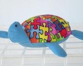 Stuffed Autism Puzzle Turtle/Pincushion