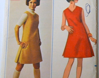 Vintage 60's Sewing Pattern Butterick 4719 A Line Dress  Bust 34 inches Uncut Complete