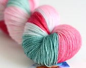 Rose Bush - Hand Dyed Yarn - Sock Yarn - Fingering Weight - Dark Pink, Light Pink and Green - Variegated