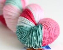 Rose Bush - Hand Dyed Yarn - Sock Yarn - Fingering Weight - Dark Pink, Light Pink and Green - Variegated