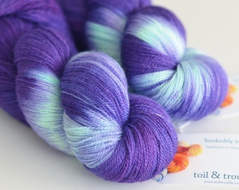 Hecate - Hand Dyed Yarn - Lace Weight - Merino and Silk - Dark Purple and Turquoise - Variegated - Greek Mythology