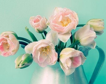 Pink Tulip Art, Flower Photography, Pink Turquoise  Wall Decor, Floral Art Pint,  Flower Still Life