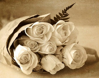 Sepia Photography, Rose Art, Still Life Photograph,  Rose Wall Decor, Rose Photo, Sepia Decor, Flower Photography