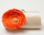 Orange & Champagne Cream Vintage Ivory Bridal Clutch - Bridesmaid Clutch - Kisslock Snap Bouquet Clutch - Orange Flowers