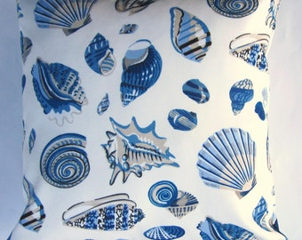 Blue Shell Pillow Cover -- Indoor Outdoor Blue Seashells Throw Pillow Cover -- 16x16