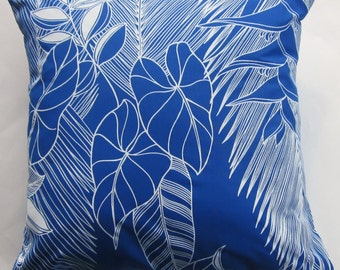 Blue and White Pillow Cover - Cobalt Blue Cushion Cover with Tropical Flowers and Leaves -16 x 16