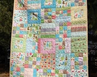 Modern Patchwork Baby Toddler Quilt