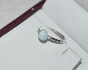 Opal Ring, Silver Ring, Gemstone Ring, Blue Opal, White Opal, 925 Sterling Silver, size  6.25, 6.75, 7, 8.25, 8.75, 9, 9.25,  Opal Jewelry