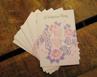 Vintage Valentine Party Invitations - Set of 30 - Valentine's Day