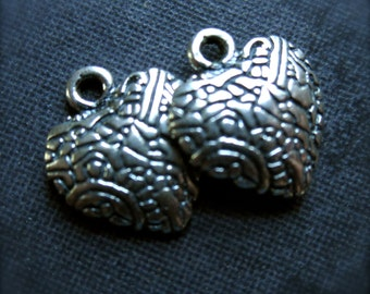Lace Heart Solid Sterling Silver charms - 10mm X 9mm - pair
