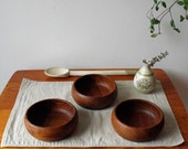 Mid Century Wood Salad or Snack Bowl Set : DanishTeak Bowls set of 3
