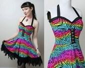 Party Animal neon rainbow leopard zebra print punk dress - handmade to order - smarmyclothes 80s 90s
