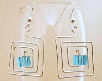 Squared and Cubed Wire Earrings