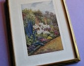 Kew Gardens Delphiniums Vintage Framed Print from Watercolor Painting