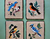 Vintage Needlepoint Birds Folk Art Set of 4