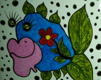 Mosaic Tiles One of a kind FLOWERY FLORA DOODLE Fish Ceramic Mosaic Tile