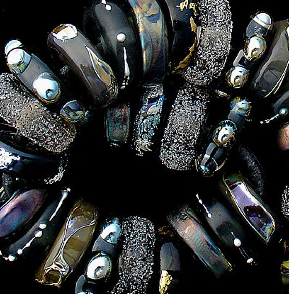 DSG Beads Debbie Sanders Artisan Handmade Organic Lampwork Glass - Made To Order ~Black Elegance~ Chunky Disc Set