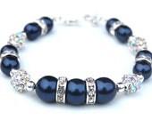 Navy Bridesmaid Jewelry, Navy Wedding,  Mother of the Bride Bracelet, Navy Bracelet, Something Blue, Blue Wedding,  Evening Accessory