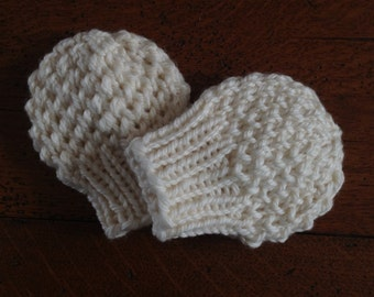 NEW - Handknit Infant Baby Hat thumbless Mittens in Cream Hospital Gift Set