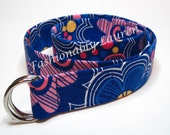 "D-ring Belt / Blue Fabric Belt / Belt for toddlers girls and women / Back To School - Blue Groovy Flower in lengths 24"" to 48"""