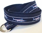 Boys Fish Canvas Belt / Teen D-ring Belt / Blue Ribbon Belt / Toddler Belt - Marlin Sailfish on Navy Khaki Belt White Belt