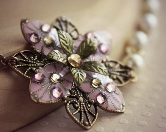 Bridal set, bridesmaid necklace, earrings, pink flower, pearl, crystal necklace