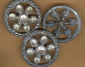 vintage rhinestone buttons with a sort of pewter look, 1930s paste rhinestones HUGE rhinestone buttons THREE BUTTONS