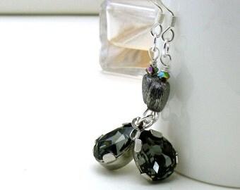 Modern Gray Crystal Dangle Earrings, Teardrop Beaded Drop Earrings, Girlfriend gift under 90
