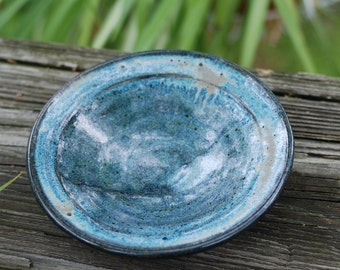 SMALL blue bowl for prep work or trinkets or serving, stoneware and ready to ship B45