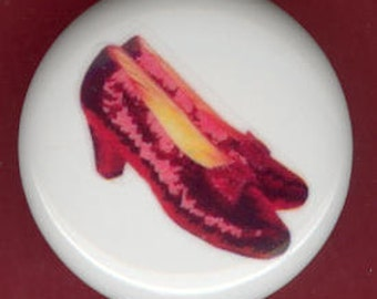 Dorothy RUBY RED SLIPPERS Shoes Wizard of Oz Ceramic Drawer Knob Pull