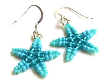 Beaded Starfish Earrings, Teal and Turquoise Blue