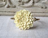 Ivory Flower Bracelet, Mum Bracelet, Cream Flower, Chrysantheum, Brass Bracelet, Bridesmaid Jewelry