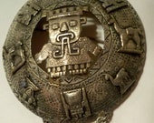 Peruvian Brooch Vintage Sterling Silver with Inca Sun God, Inti, pre-Columbian Demi Gods & Andean Imagery