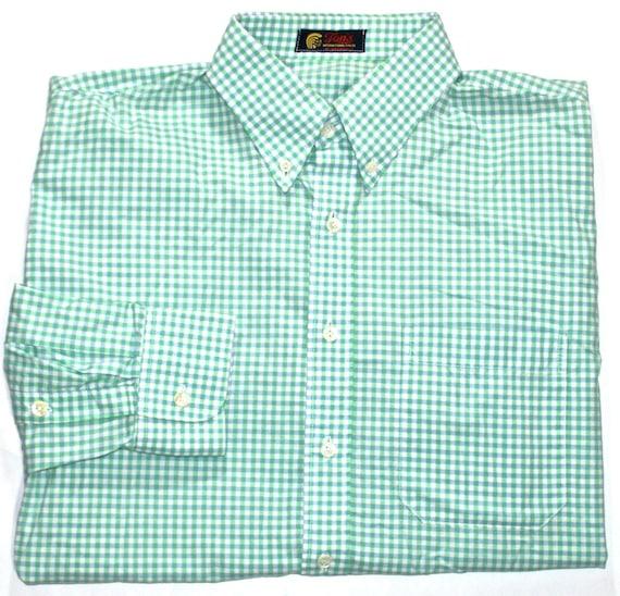 Vintage green blue button down gingham shirt by for Blue gingham button down shirt