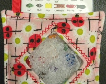 I Spy Bag - Mini with SEWN Word List and Detachable PICTURE LIST- Ladybug Friends