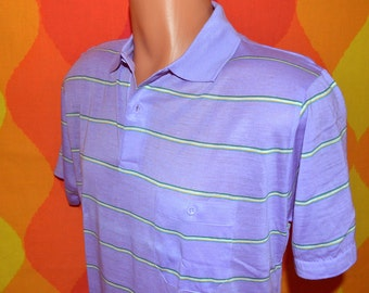 vintage 80s polo GOLF shirt purple lavender pastel stripe collar preppy Medium Large southern classics new soft thin