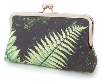 SALE, Green fern, clutch bag, original printed purse with silk lining, gift box, handmade by Red Ruby Rose