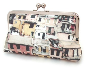 Clutch bag, kisslock purse, Italian village, rooftops, CINQUE TERRE