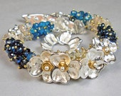 Silver  Gemstone Bracelet, Gemstone Beaded Bracelet With PMC, Blue Apatite, Morganite, & Beryl- Starlit Blue Velvet Garden