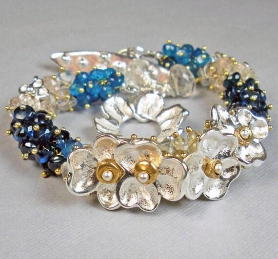 Silver  Gemstone Bracelet, Gemstone Beaded Bracelet With PMC, Blue Apatite, Morganite, & Beryl- Starlit Blue Velvet Garden