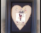 Primitive Spring Bunny Heart Canvas Flower Picture Framed Handpainted Home Decor Decorative Decoration