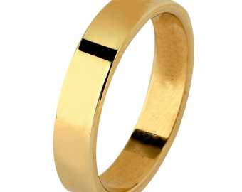 14 kt  Yellow Gold Classic Smooth Cigar Style 3mm Wide Commitment or Wedding Band Custom made Size 4 through 7
