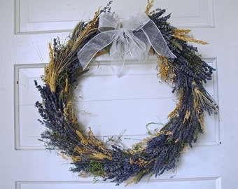 Hand Crafted Wreath of Montana Lavender, Wheat, Moss and Grasses