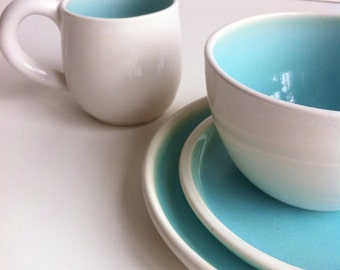 Wheel Thrown  Stoneware Dinnerware Set - White And Robin's Egg Blue