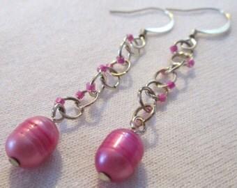 Magenta Pearl Earrings