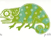 Sugar Skull Chameleon Limited Edition Gocco Screenprint